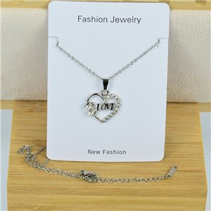 IRIS Rhinestone Pendant Necklace on Thin Steel Chain L40-45cm New Collection 79096