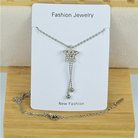 IRIS Rhinestone Pendant Necklace on Thin Steel Chain L40-45cm New Collection 79099