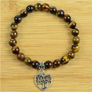 Tree of Life Lucky Bracelet 8mm Beads in Tiger Eye Stone on elastic thread 79241
