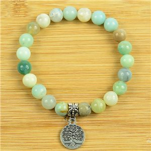 Lucky Tree of Life Beads Bracelet 8mm in Moss Agate Stone on elastic thread 79259