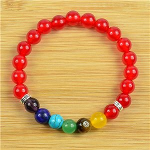 Charm Bracelet Collection 7 Chakras Beads 8mm in Carnelian Stone on elastic thread 79272