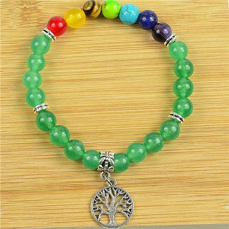 Lucky Bracelet Collection 7 Chakras Beads 8mm in Green Aventurine Stone on elastic thread 79277