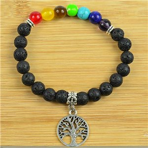 Lucky Bracelet Collection 7 Chakras Beads 8mm in Lava Stone on elastic thread 79274