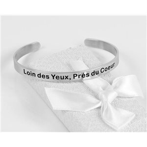Message   Far from the Eyes, Near the Heart   Stainless Steel Bangle 79423