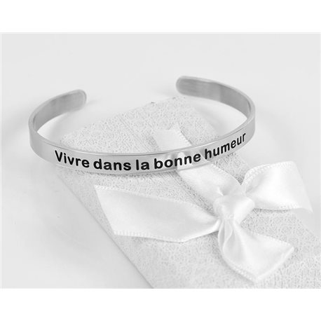 Message   Live in a good mood   Stainless Steel Bangle 79424