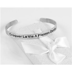 Message | Crunching Life A Full Teeth | Stainless Steel Bangle 79426