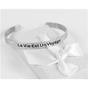 Message | Life Is A Journey | Stainless Steel Bangle 79432