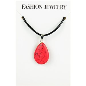 NEW Necklace Pendant in Red Howlite Stone on cord L43-48cm 79376