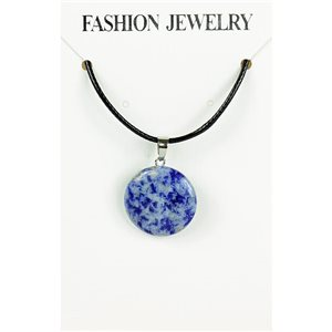 NEW Necklace Pendant in Stone Agate Lilac on cord L43-48cm 79398