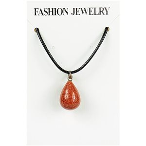 NEW Necklace Pendant in Stone of the Red Sun on a cord L43-48cm 79409