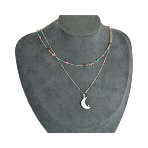 NEW Pretty Pendant Necklace on fine chain all in Stainless Steel 79441