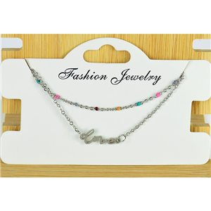 NEW Pretty Fine Chain Bracelet 2 rows all in Stainless Steel 79455