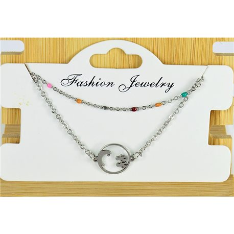 NEW Pretty Fine Chain Bracelet 2 rows all in Stainless Steel 79456