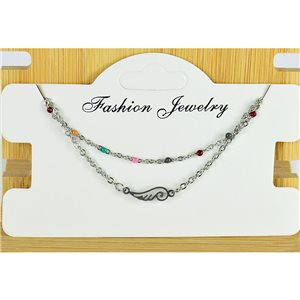 NEW Pretty Fine Chain Bracelet 2 rows all in Stainless Steel 79458