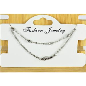 NEW Pretty Fine Chain Bracelet 2 rows all in Stainless Steel 79463
