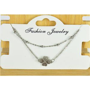NEW Pretty Fine Chain Bracelet 2 rows all in Stainless Steel 79466