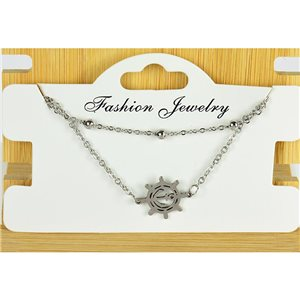 NEW Pretty Fine Chain Bracelet 2 rows all in Stainless Steel 79467