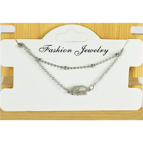NEW Pretty Fine Chain Bracelet 2 rows all in Stainless Steel 79468