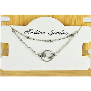 NEW Pretty Fine Chain Bracelet 2 rows all in Stainless Steel 79474