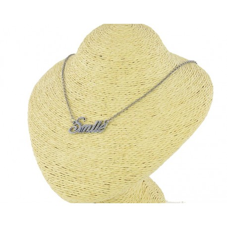 Necklace Pendant Stainless Steel and Strass SMILE 62985