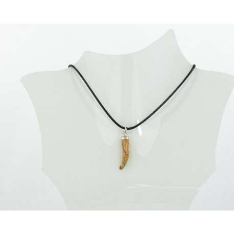 Stone Pendant Necklace in wax cord L48cm 63707
