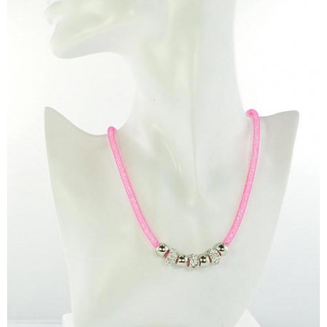 Necklace Top Fashion Fishnet and Strass magnetic clasp L50cm 64531