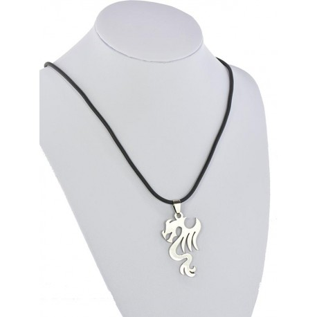Pendant Necklace Stainless Steel on 64684 Silicone L50cm