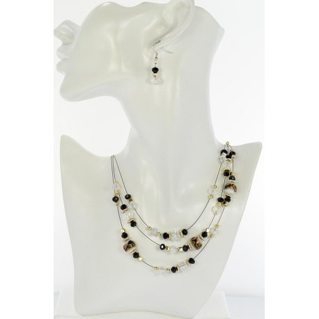 Adornment Collier Suspension 3 Rank Beads and Jewelry 65354