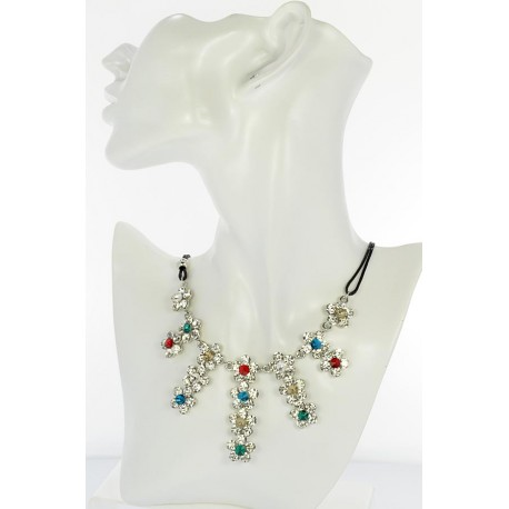Riviere Necklace Rhinestone and Zircon on waxed cord L48cm 65366