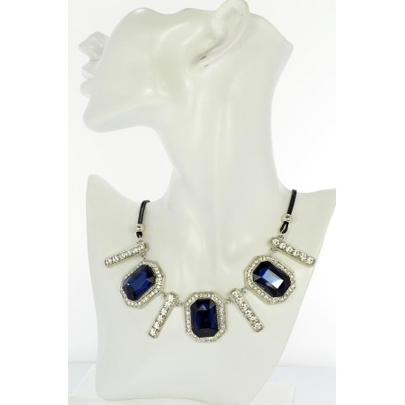 Riviere Necklace Rhinestone and Zircon on waxed cord L48cm 65378