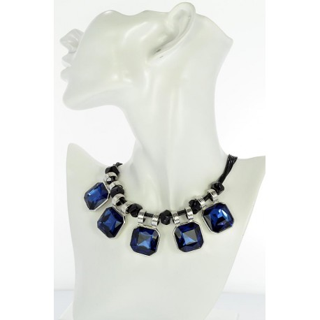Riviere necklace Strass on waxed cord L48cm 65386