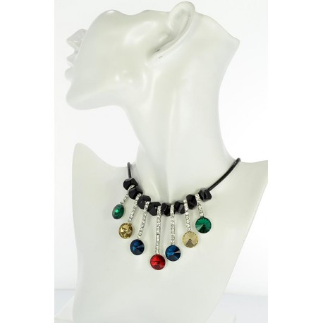 Riviere necklace Rhinestone and Zircon on waxed cord L48cm 65387
