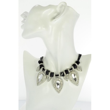 Riviere Necklace Rhinestone and Zircon on waxed cord L48cm 65388