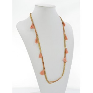 Summer Long Necklace Tassels fabric and silver chain L90cm 65624