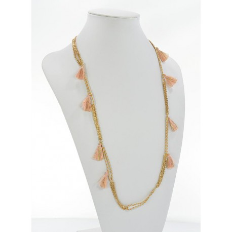Summer Long Necklace Tassels fabric and silver chain L90cm 65626