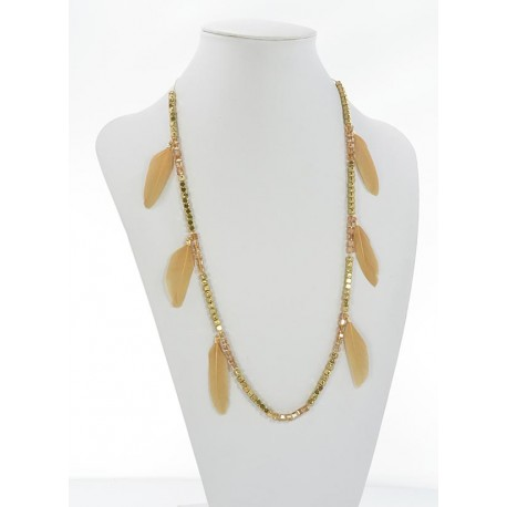 Long Necklace Summer Feathers on Stones and Jewelry L90cm 65631
