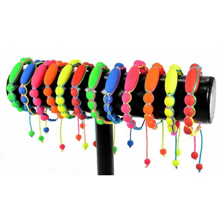 12 Adjustable Nylon Bracelets Collection FLUO 57590