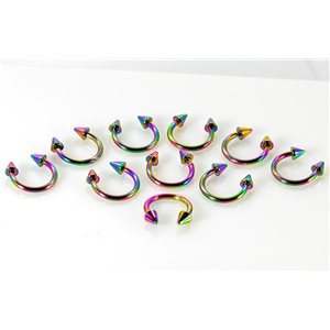 10 2 circular piercing spikes rainbow d1.2mm l8mm surgical steel 68917