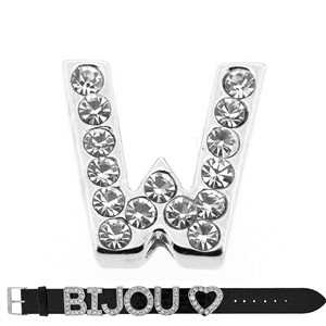 Initial Full Rhinestone Bracelet 20mm to 18mm name Letter W 69223